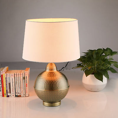 Hammered Pot Antique Brass Table Lamp soft light eye care w/ Bulb, UL Listed