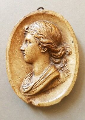 GEORGIAN OVAL BURNISHED PLASTER PLAQUE with PROFILE of CLASSICAL GODDESS DIANA.