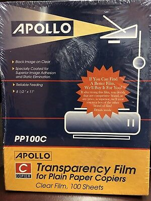 Apollo PP100C Transparency Film for Plain Paper Copiers 100 Sheets Box NEW