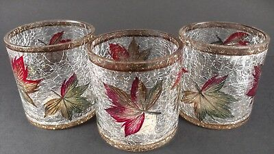 3 Colorful fall leaves candle holders, crackle glass Yankee Candle Co.