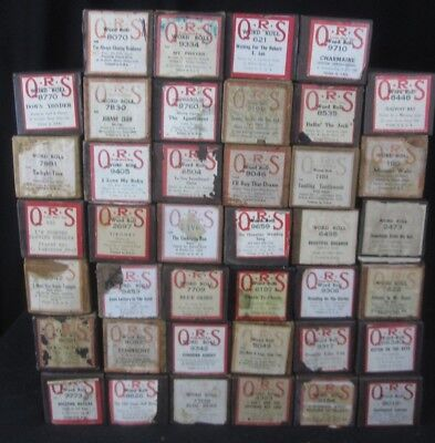 Lot of 40 QRS Piano Word Rolls - Vintage Brown Boxes - Popular Oldies & More!