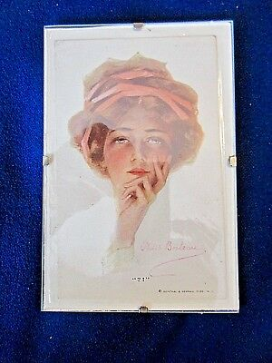 """FRAMED POST CARD PHILIP BOILEAU """"?!"""" GIRL  3X 5""""  reflection in photo not item"""