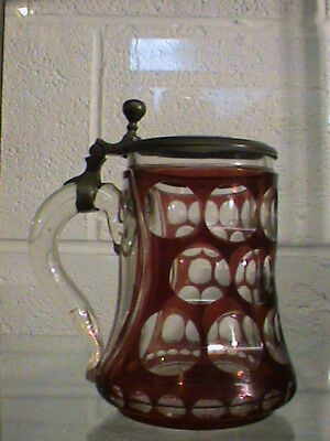 Early Bavarian Red Glass Stein/tankard Ovals And A Cut Star Base Painted Panel