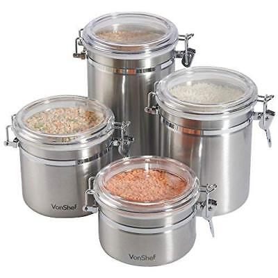 Set of 4 Storage Canisters Stainless Steel Tea Coffee Sugar Containers Tin Jar