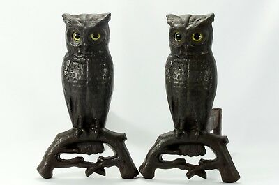 Antique Cast Iron Andirons Cast Iron Owl Pair Glass Eyes