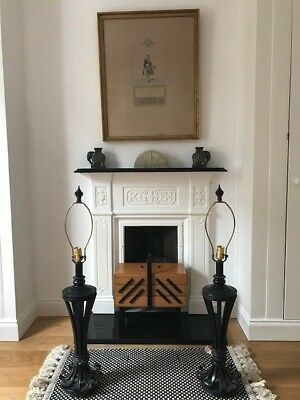 Pair of Vintage Black Spanish Gothic Revival Mid-century Table Lamps