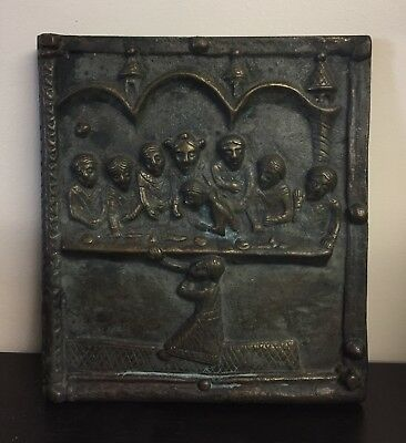 Interesting Old Religious Bronze Last Supper Medieval Style Old Sculpture
