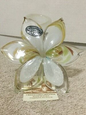 Murano Glass Flower White Multi Color Flower Spiral Stem Hand Blown Sculpture