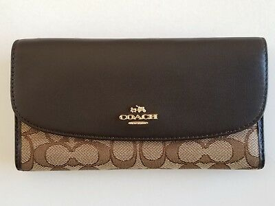 NWT Coach F55202 Outline Signature Checkbook Wallet Khaki Brown