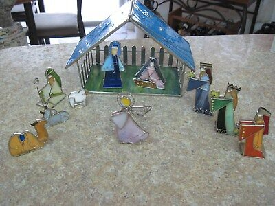 Vintage Leaded STAINED GLASS Christmas Nativity Scene ~ Hand Made