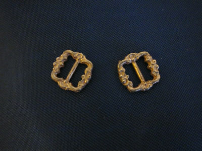 2  small brass buckles for antique German or French doll or crafts