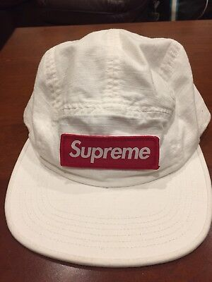 20e591fe Brand New Supreme Metal D-Ring Camp Cap Hat White Box Logo Red Sticker FW17