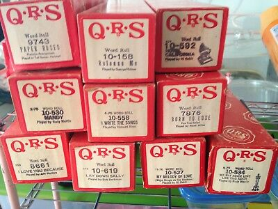 Lot of 10 Player Piano Rolls QRS