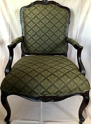 @@@henredon Carved Fireside Arm Chair -53422900 -Signed Inspect - Brown/gold@@@