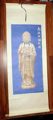 "Amitābha BUDDHA HINDU ASIAN ROLL UP SCROLL STATUTE PICTURE 48"" X 17.5"""