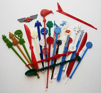 Airline Swizzle Sticks, Including Some Foreign + Southwest Wings