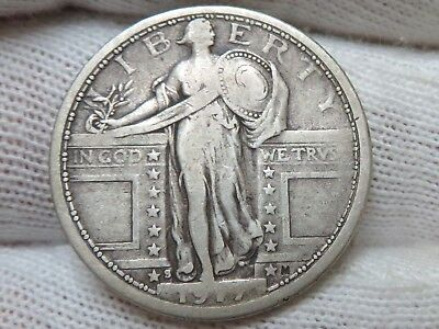 1917 S Type 1 Silver Standing Liberty Quarter