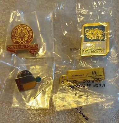 Lot of 4 Mixed McDonald's 1980's to 1990's Collectible Lapel Pins(B)
