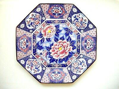 Japanese Octagonal Charger Plate Toyo Blue Pink Birds Flowers Vintage