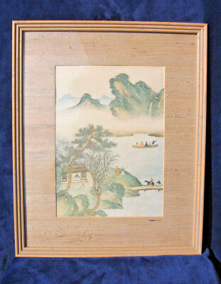 Vintage CHINESE Painting MISTY MOUNTAIN LAKE Rice Paper Watercolor Framed