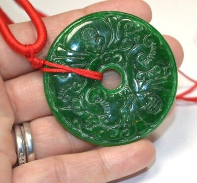 "Vintage Chinese Export Carved Green Jade Disk Donut 2"" Pendant Necklace"