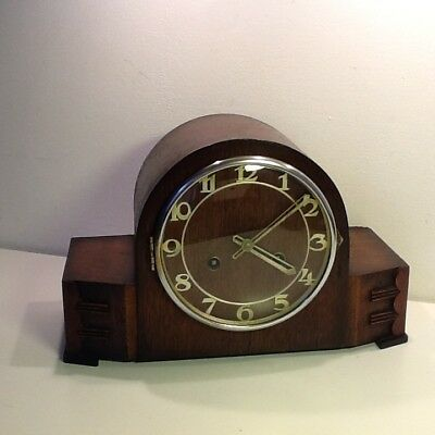 Vintage Smiths Late Deco Style Oak Cased Mantel Clock,Numerical Dial