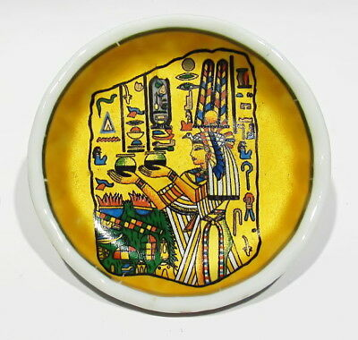 """Vintage SIGNED 24k Gold Plated Cleopatra Egyptian Miniature 2 1/8"""" Plate Saucer"""