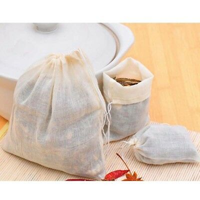 Spice Herbs Drawstring Cotton Muslin Filters Tea Bags