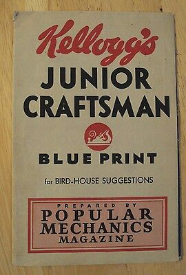 "VTG 1927 Advertising Cereal Promo~""KELLOGG'S JUNIOR CRAFTSMAN""~Blue Print~"
