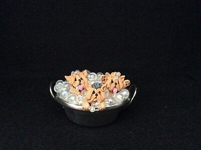 Yorkshire Terrier Yorkie Dogs Bubble Bath Washtub Ooak Clay Sculpture