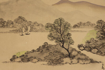 """JAPANESE HANGING SCROLL ART Painting Scenery """"Coast"""" Asian antique  #E3939"""