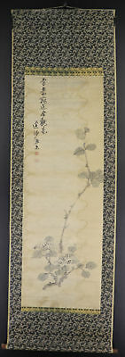 JAPANESE HANGING SCROLL ART Painting  Asian antique  #E3957