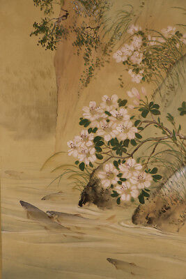 """JAPANESE HANGING SCROLL ART Painting """"Sweet fish and Flowers""""  #E3965"""