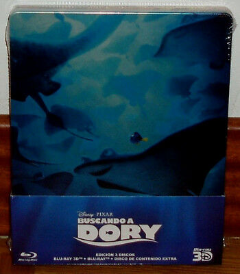 Buscando A Dory Steelbook Blu-Ray 3D+2 Blu-Ray New Disney Sealed R2