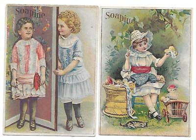 2 Kendall Soapine Soap Victorian Trade Cards Girls/doll/cat