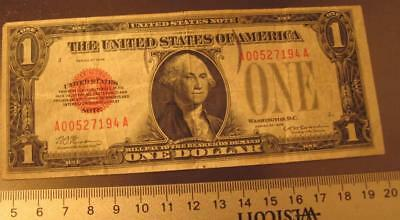 1928 $1 Red Seal note 'Funny Back' nice circulated note--see pics