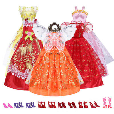 5Pcs Handmade Princess Party Gown Dresses Clothes 10 Shoes Fr Barbie doll Gifts