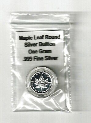 One (1) Gram Silver Maple Leaf Round Coin in Capsule, with Title Card, & Bagged