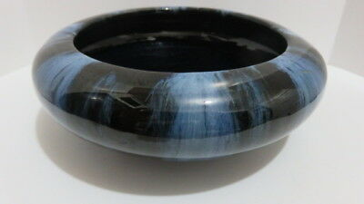 "Brush McCoy Art Pottery Blue Onyx Drip Glaze Bulb Planter / Bowl ~ 8 1/4"" W"