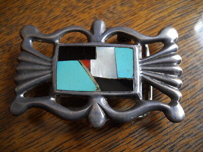 Old Native Silver Sand Cast Belt Buckle Mosaic Inlay Turquoise Coral Onyx Mop