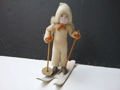 antique spun cotton skier composition face chenille mica japan christmas holiday