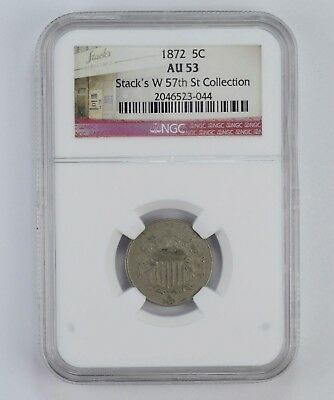 AU53 1872 Shield Nickel - Stacks W 57th St Collection - NGC Graded *5668
