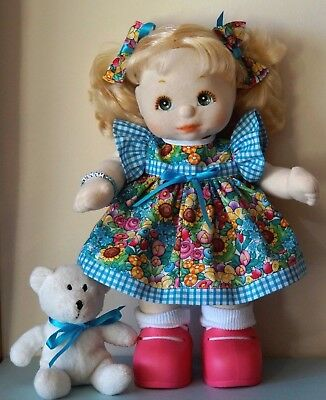 My Child Doll Lovely Floral & Gingham Dress Panties Bows & Teddy  (No Doll)