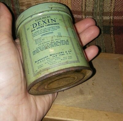 Antique Drug Store Pharmacy Apothecary DEXIN Tin SALESMAN SAMPLE Dr's NYC