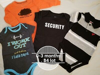 Baby clothes... Sizes: NB, 0-3 mo, 3 mo. Various brands. Infant boy.
