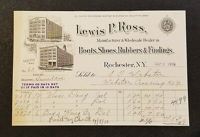 1910 Antique Letterhead / Art ~ Lewis P. Ross - Shoes, Rubbers & Findings ~ NY