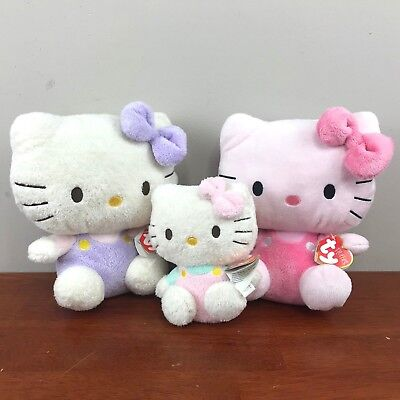 """Ty Hello Kitty Lot of 3 Sewn Eyes Plush Toys Dolls 8"""" Pluffies 5"""" Beanie Baby"""