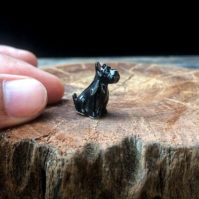 Dollhouse Miniature Schnauzer Dog Ceramic Tiny Figurine Sculpture Hand Painted
