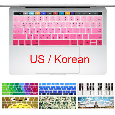 Korean US Layout Keyboard Silicon Cover for Macbook Pro 13 15 with Touch Bar