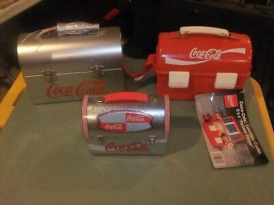 Coca-Cola LUNCH BOX Group   2 (SILVER) METAL TIN+ 1 Plastic